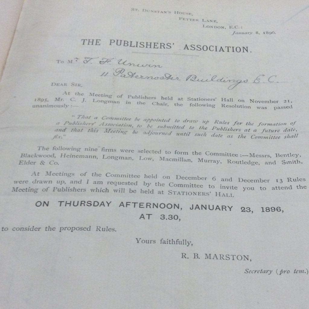 London, The Publishers Association, MS, 1896.